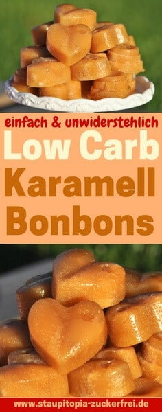 Low Carb Karamell Bonbons selber machen: Einige Versuche hat es gedauert, bis ich es geschafft habe leckere Low Carb Karamell Bonbons mit der perfekten, weichen Konsistenz selber zu machen. Da es jetzt endlich geklappt hat, möchte mein Rezept für diese leckeren Low Carb Karamell Bonbons natürlich mit dir teilen. Du benötigst nur 4 Zutaten und die Zubereitung ist wirklich einfach. Hol dir jetzt das Rezept auf www.staupitopia-zuckerfrei.de
