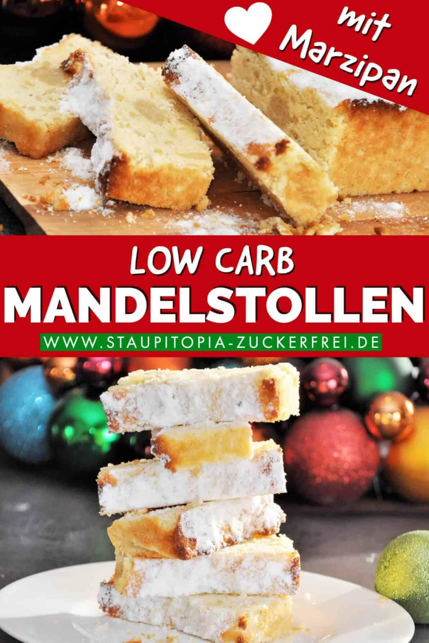 Low Carb Backen zu Weihnachten: Dieser Low Carb Mandelstollen mit Marzipan wird dich begeistern. Er ist schnell zubereitet, glutenfrei und kommt natürlich ohne Zucker aus!