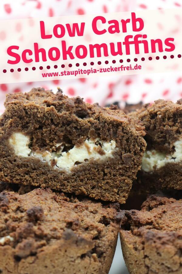 Low Carb Schokoladen Muffins mit Mandelmehl und Frischkäse backen