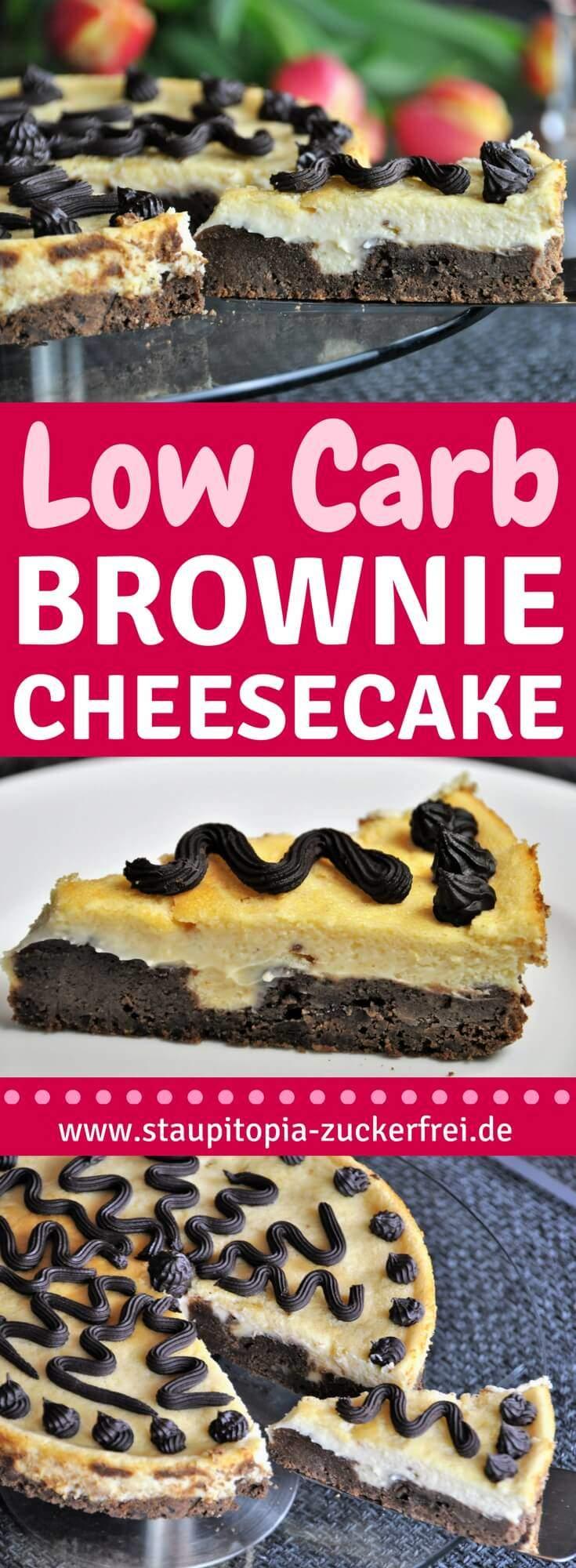 Der Low Carb Brownie Cheesecake zählt zu meinen absoluten Favoriten, da er gleich zwei meiner liebsten Low Carb Kuchen vereint:Käsekuchen und Brownies! Er kommt natürlich ohne Zucker und ohne Mehl aus und ist zudem glutenfrei.