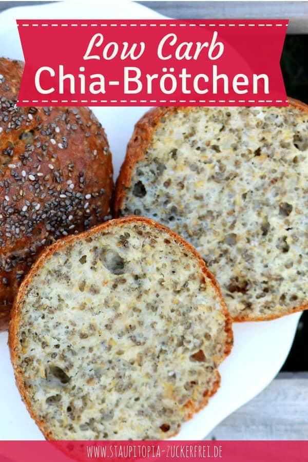 Rezept für glutenfreie, gesunde Low Carb Chia-Brötchen mit Frischkäse.