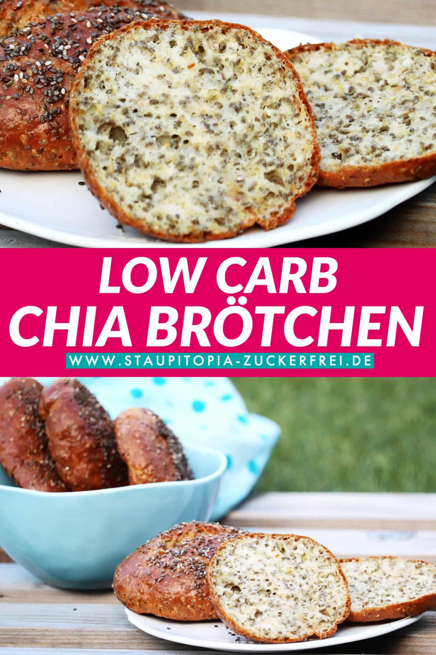 Rezept für glutenfreie, gesunde Low Carb Chia-Brötchen ohne Kohlenhydrate.