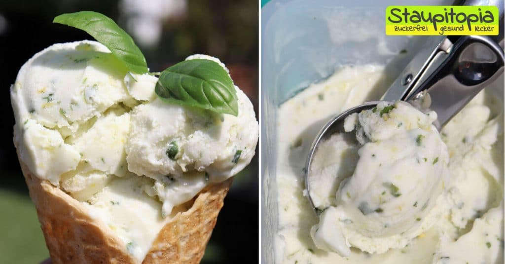 Wenn du ein Freund von leckeren, erfrischenden und cremigen Eis bist, dann musst du unbedingt einmal dieses Low Carb Zitroneneis mit Basilikum probieren.