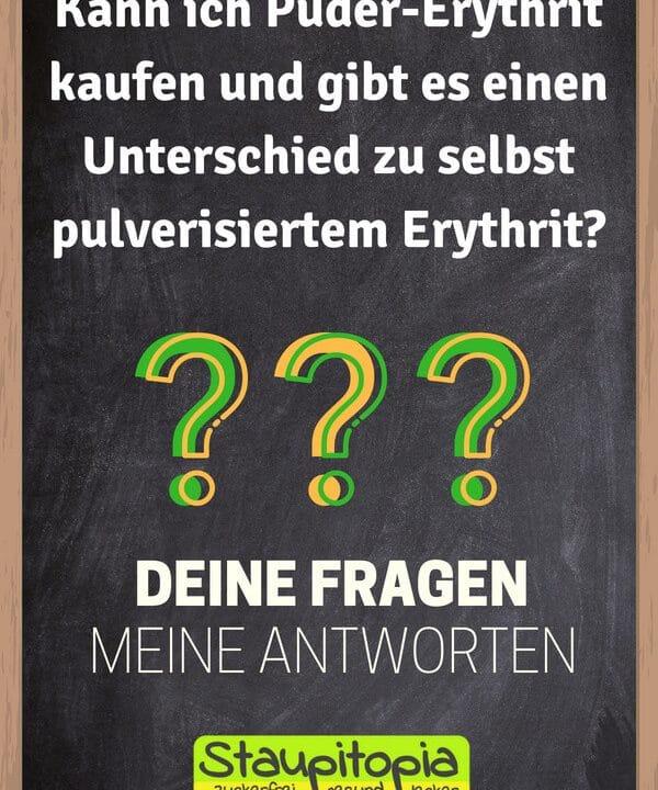 Fragen und Antworten zum Thema Backen mit Puder-Erythrit: Kann ich Puder-Erythrit kaufen und gibt es einen Unterschied zu selbst pulverisiertem Erythrit?