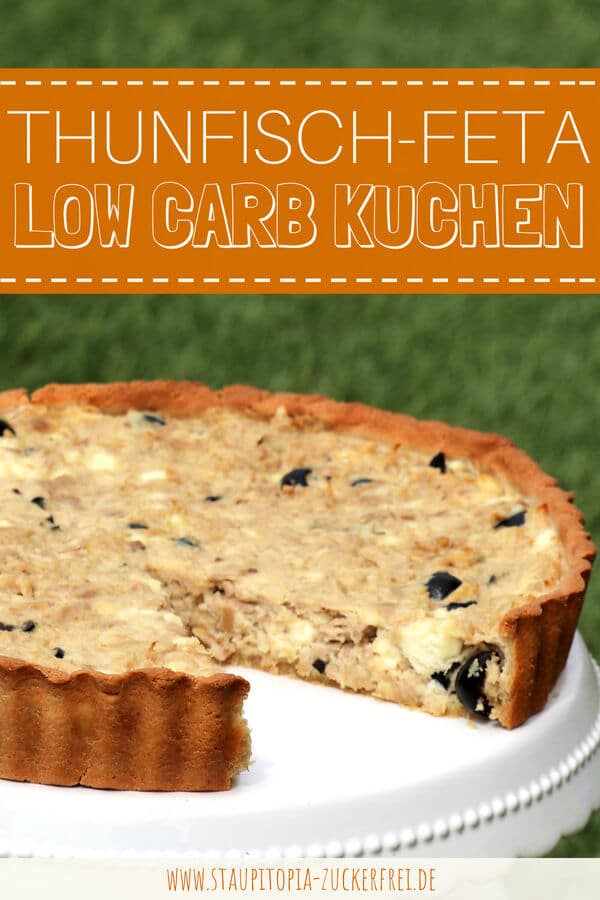 Herzhafter Low Carb Kuchen ohne Kohlenhydrate mit Oliven und Thunfisch.