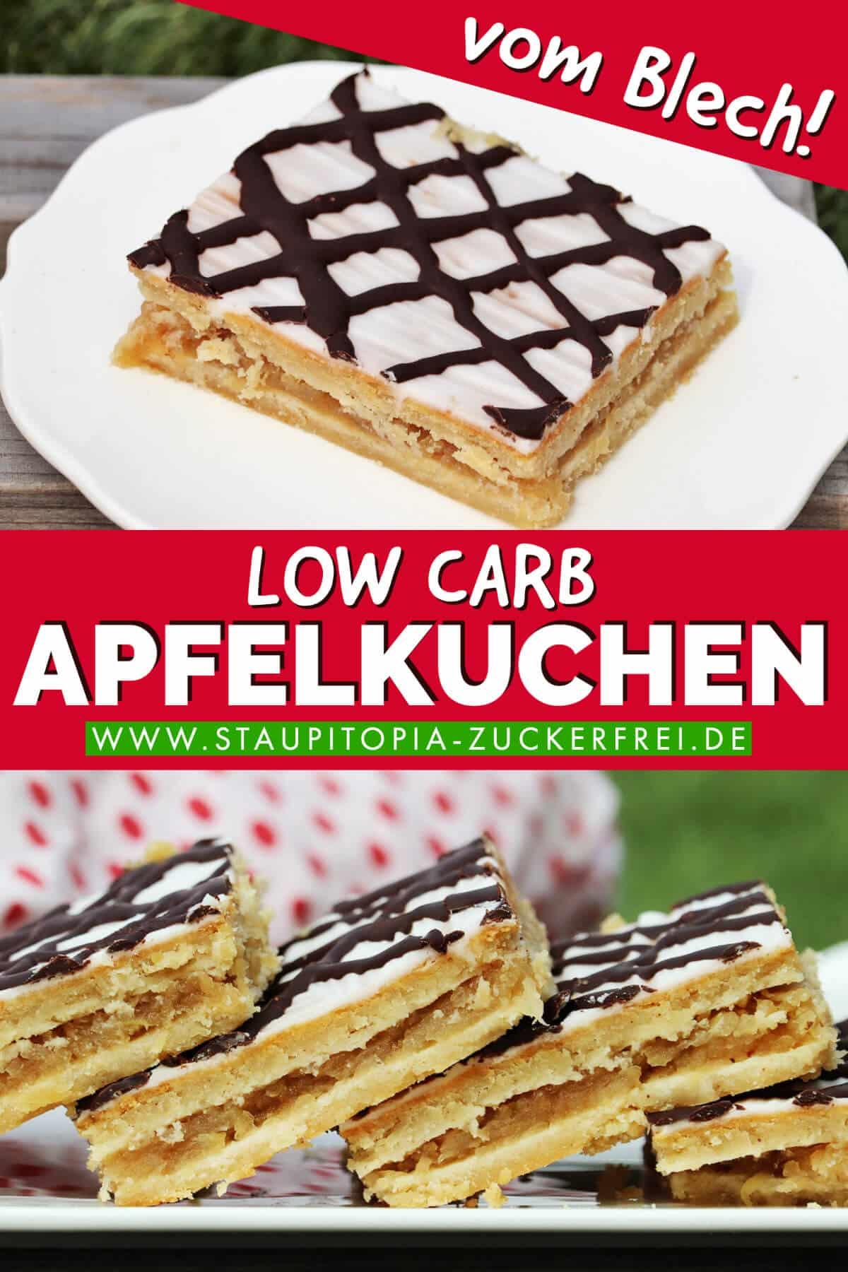 Low Carb Apfelkuchen mit Mandelmehl ohne Zucker aus Low Carb Mürbeteig auf dem Blech gebacken.