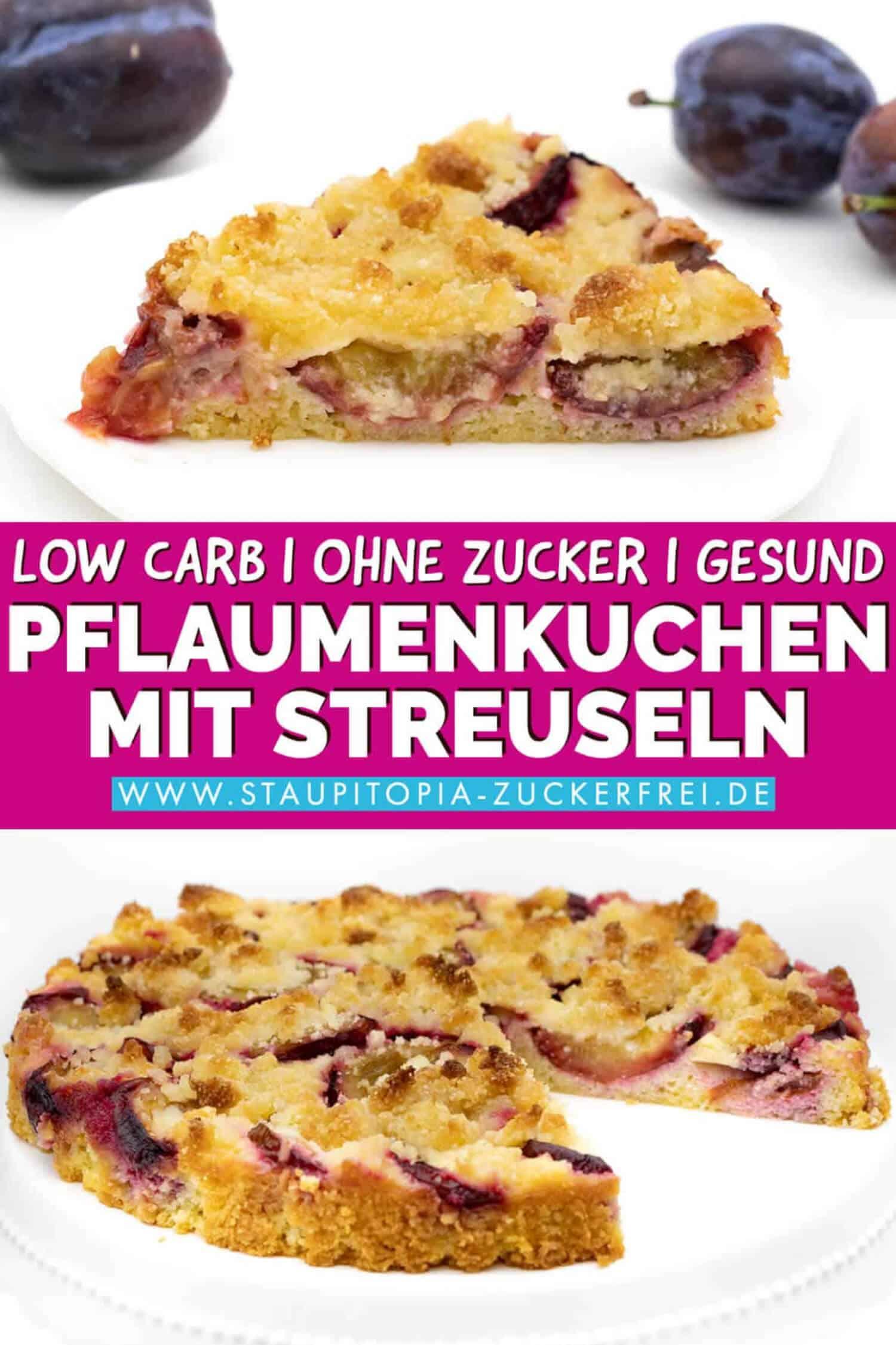 Low Carb Pflaumenkuchen mit Mandelmehl ohne Zucker.