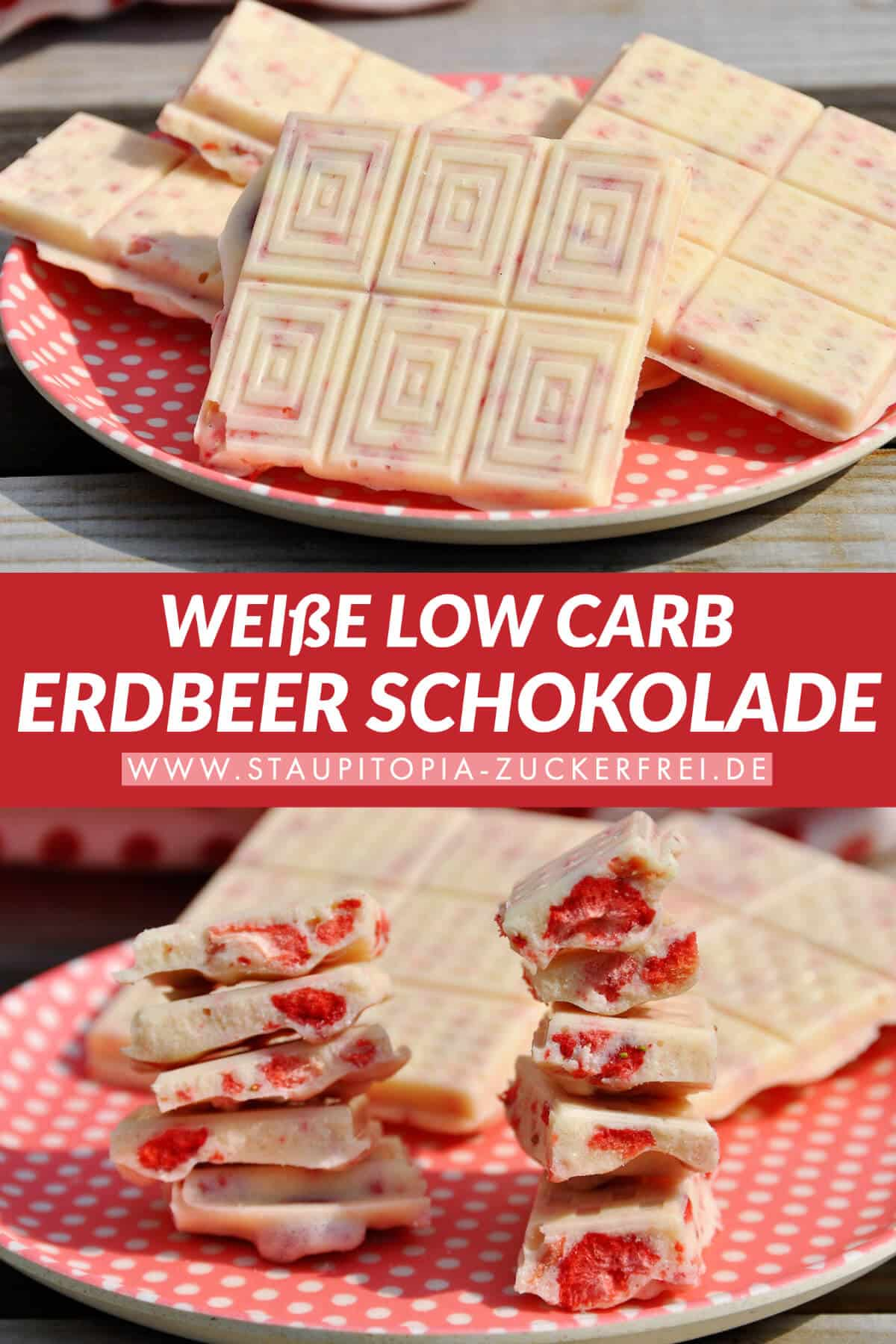 Weisse Schokolade ohne Zucker mit Erdbeeren schnell selber machen.