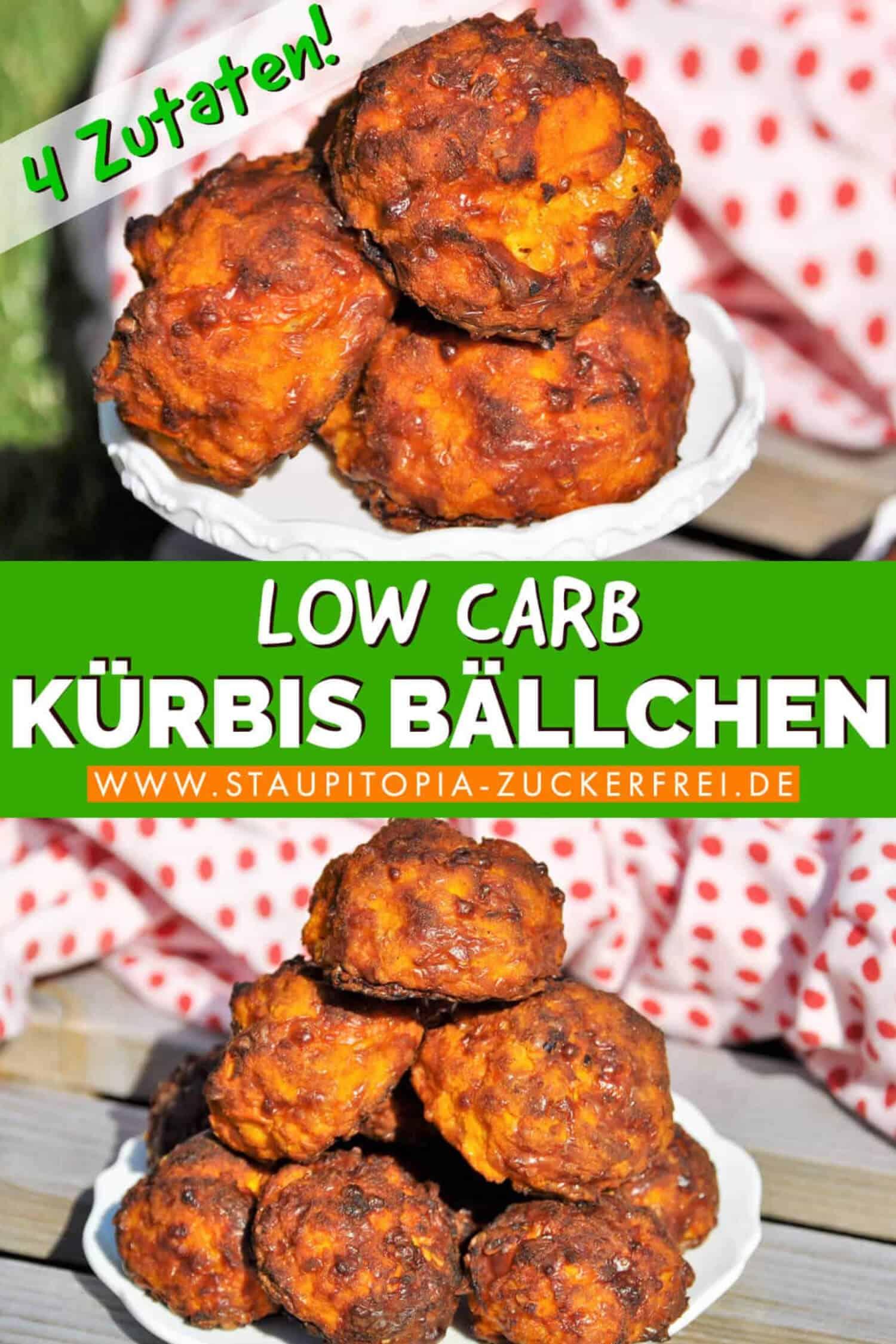 Rezept für Low Carb Kürbis Bällchen als Snack oder zum Abendessen.