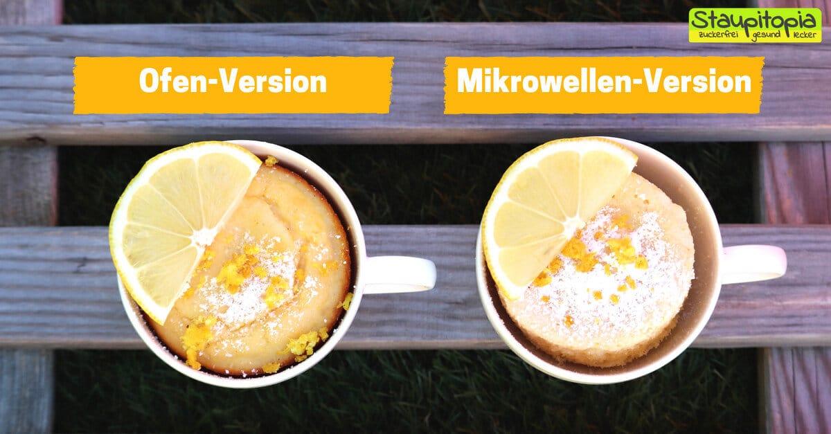 Rezept für einen Low Carb Tassenkuchen Zitrone für Mikrowelle und Backofen