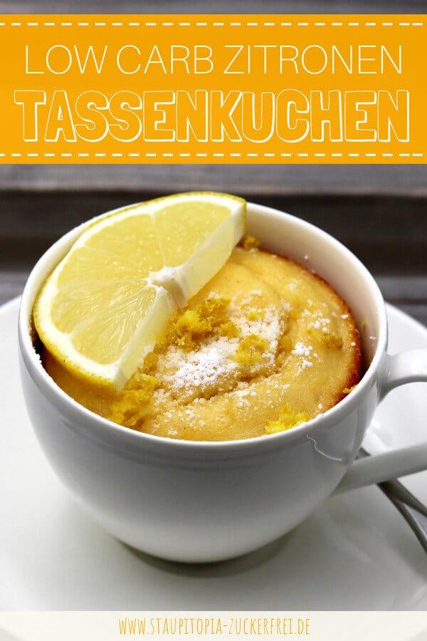 Rezept für einen Low Carb Tassenkuchen Zitrone ohne Mehl