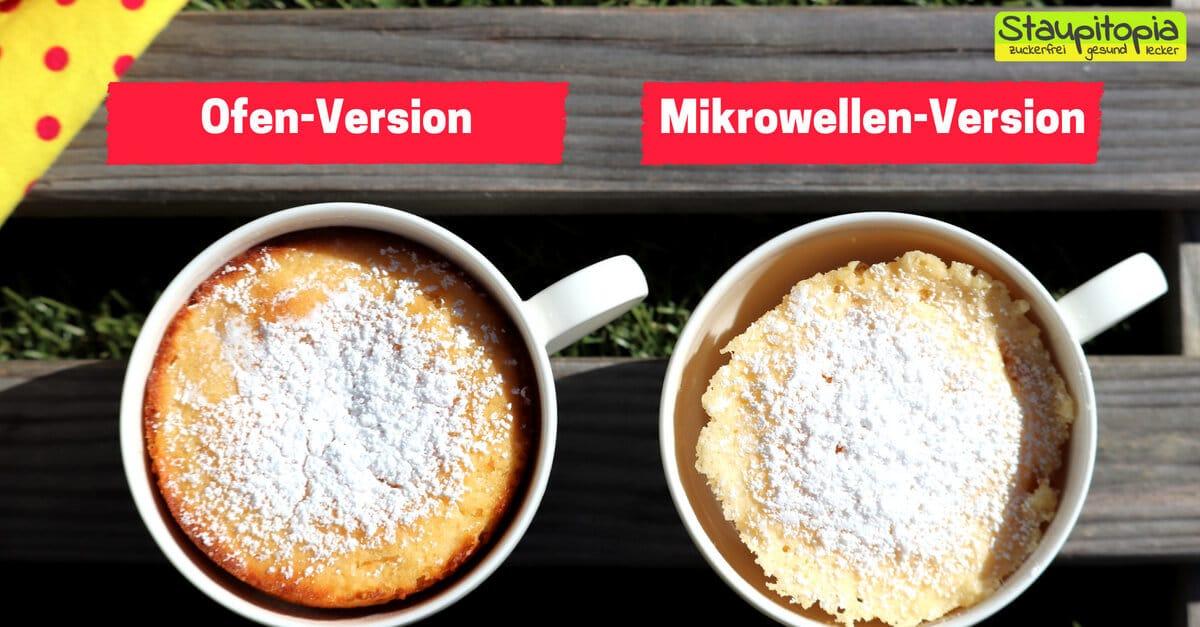 Low Carb Tassenkuchen für die Mikrowelle und den Backofen