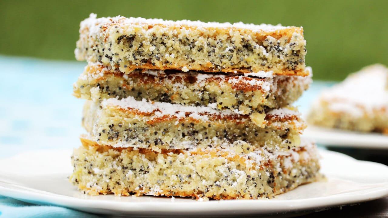 5 Zutaten Low Carb Mohnkuchen ohne Mehl backen