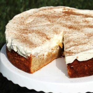 Low Carb Fanta Kuchen mit Schmand und Pfirsichen
