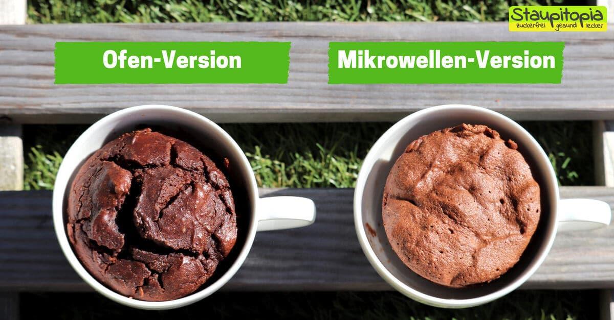 Rezept für einen Low Carb Tassenkuchen Schoko für Mikrowelle und Backofen