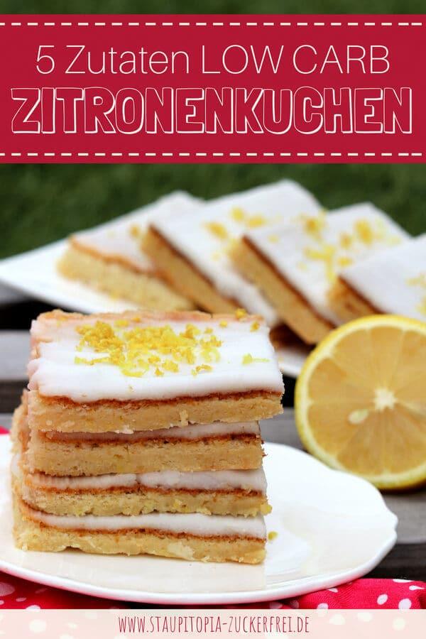Rezept für einen Low Carb Zitronenkuchen vom Blech ohne Mehl und Zucker