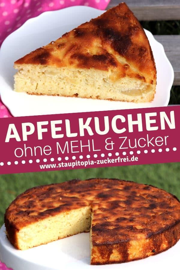Apfelkuchen ohne Mehl und Zucker backen.