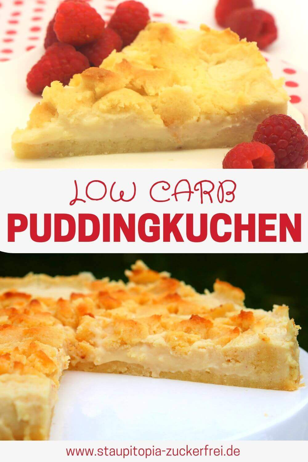 Low Carb Puddingkuchen mit Streusel
