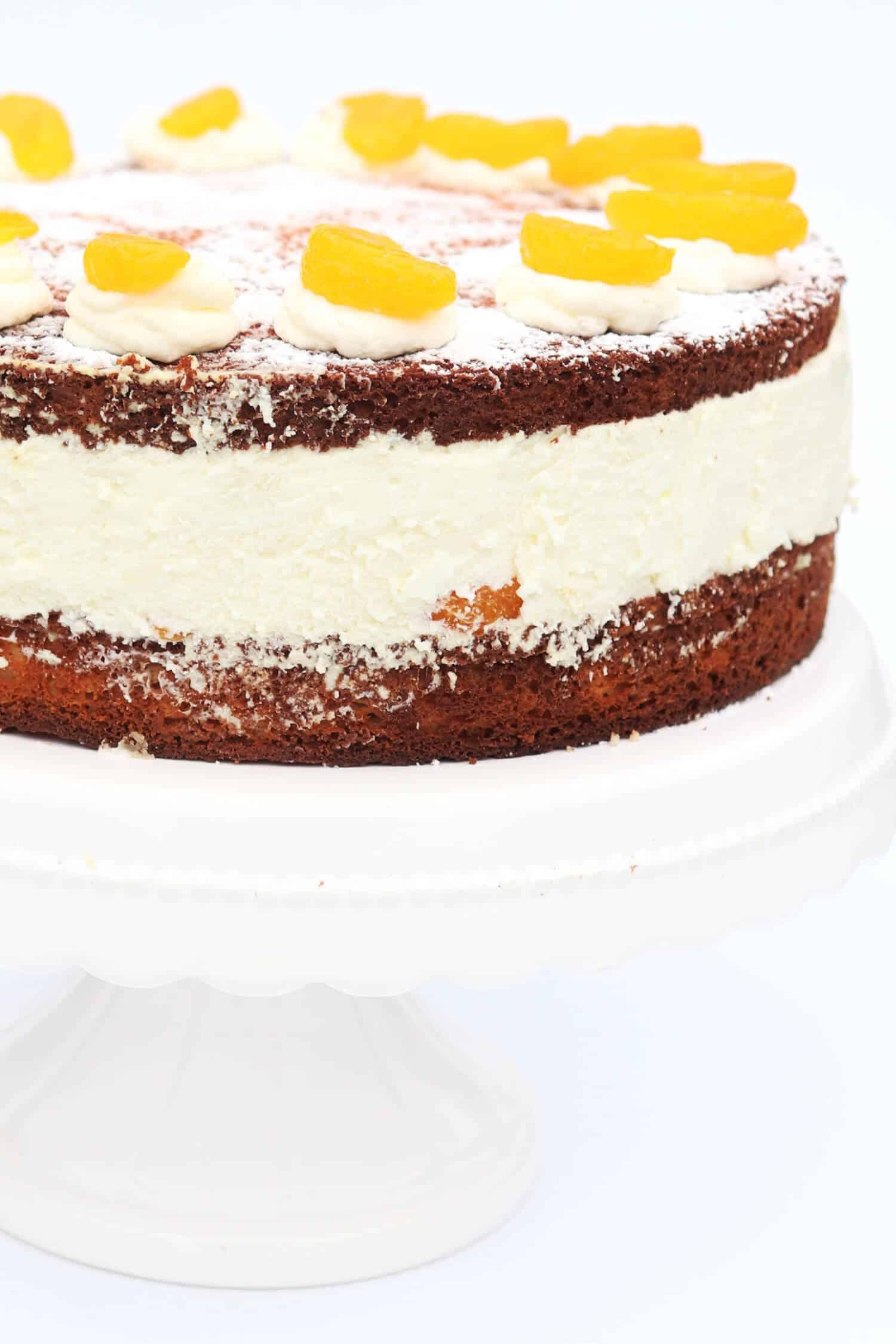 Manadrinen Quark Torte ohne Zucker Diabetiker