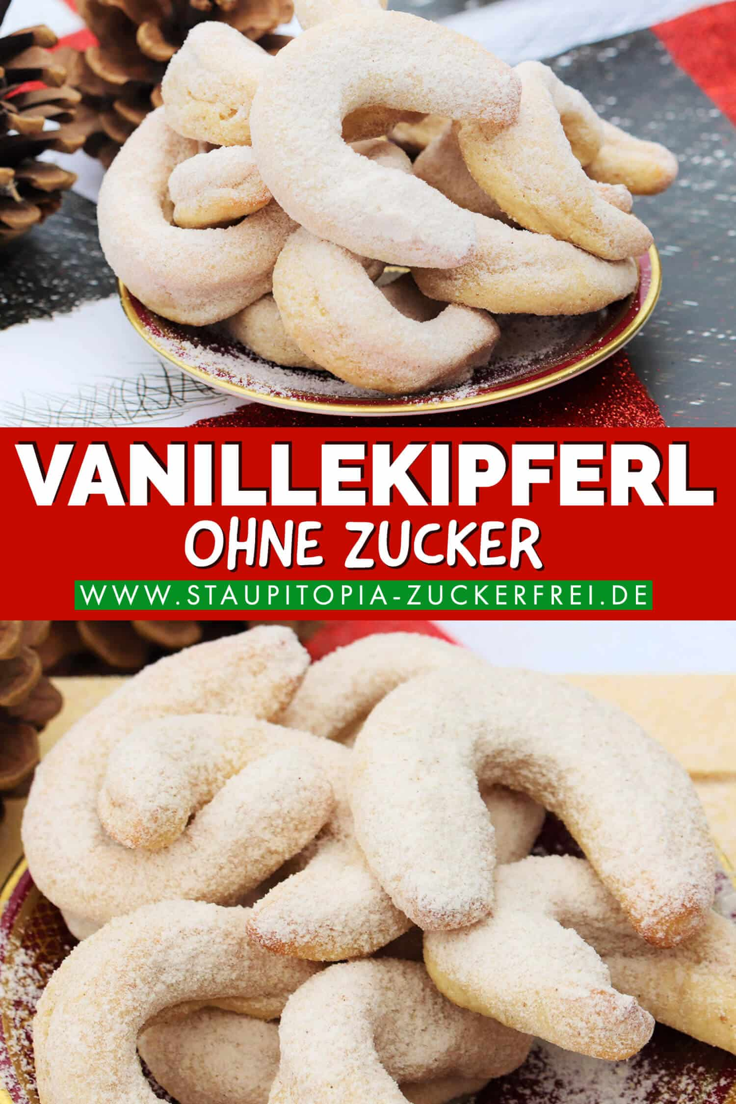 Vanillekipferl ohne Zucker und ohne Mehl