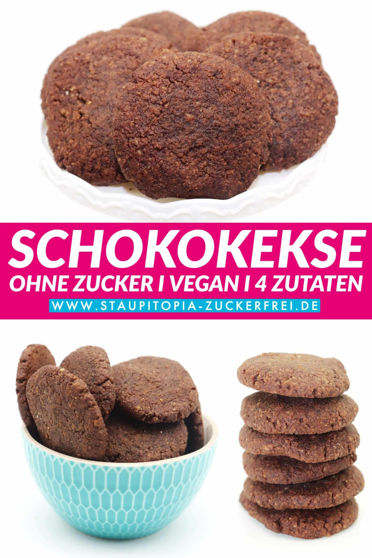 Vegane Schoko Plätzchen ohne Zucker und Mehl