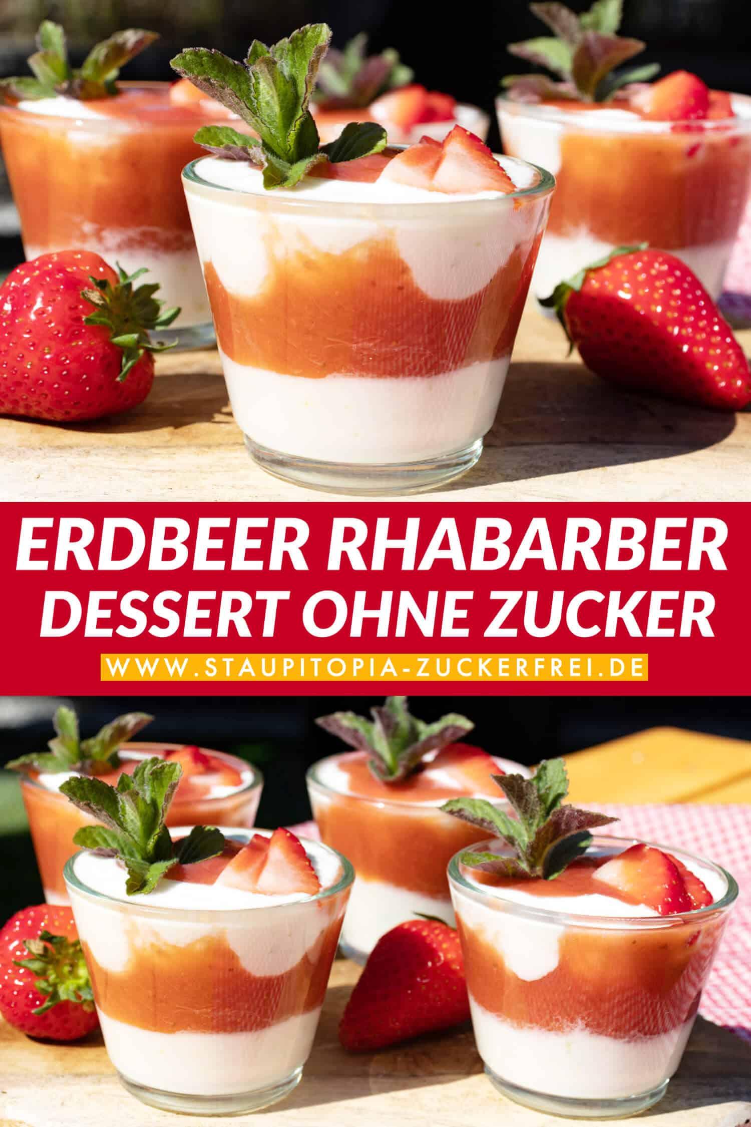 Erdbeer Rhabarber Dessert Low Carb