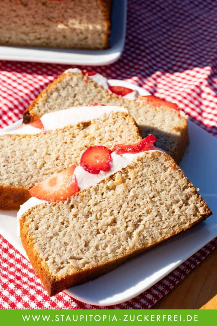 Erdbeer Rhabarber Kuchen ohne Zucker