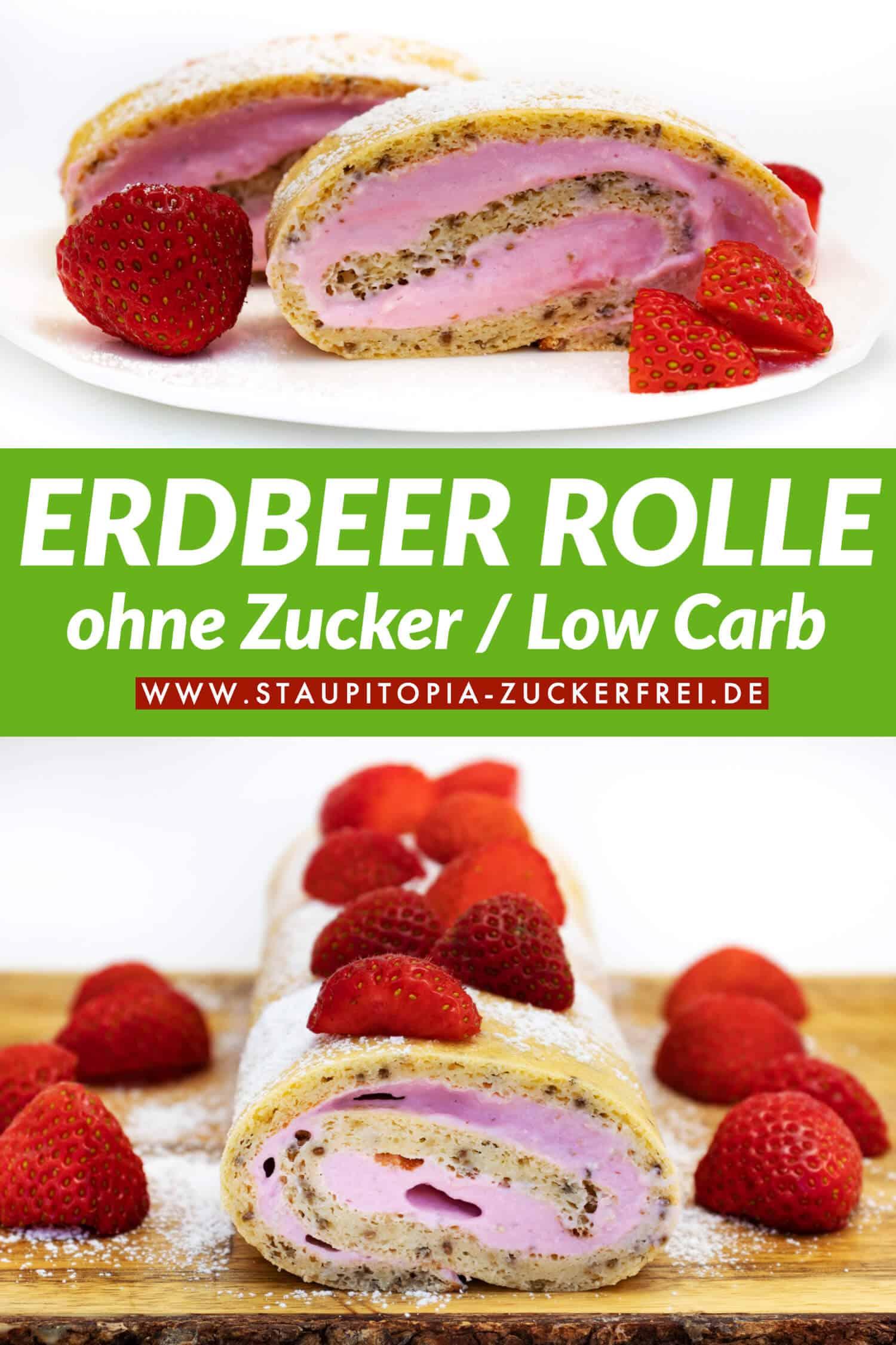 Low Carb Erdbeerrolle selber backen