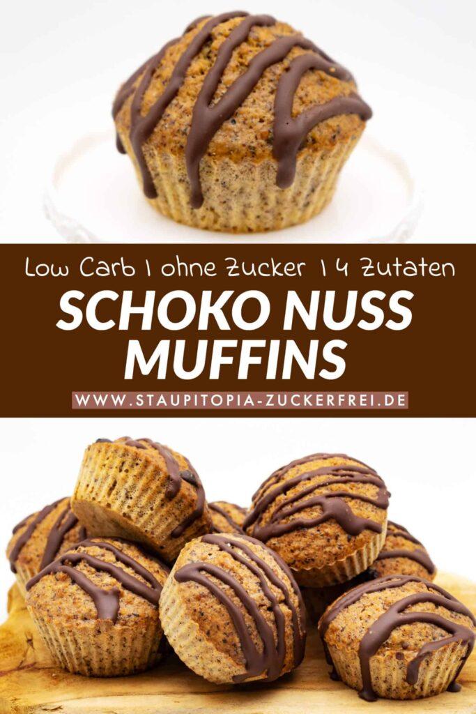 Rezept für schnelle Schoko Nuss Muffins ohne Zucker