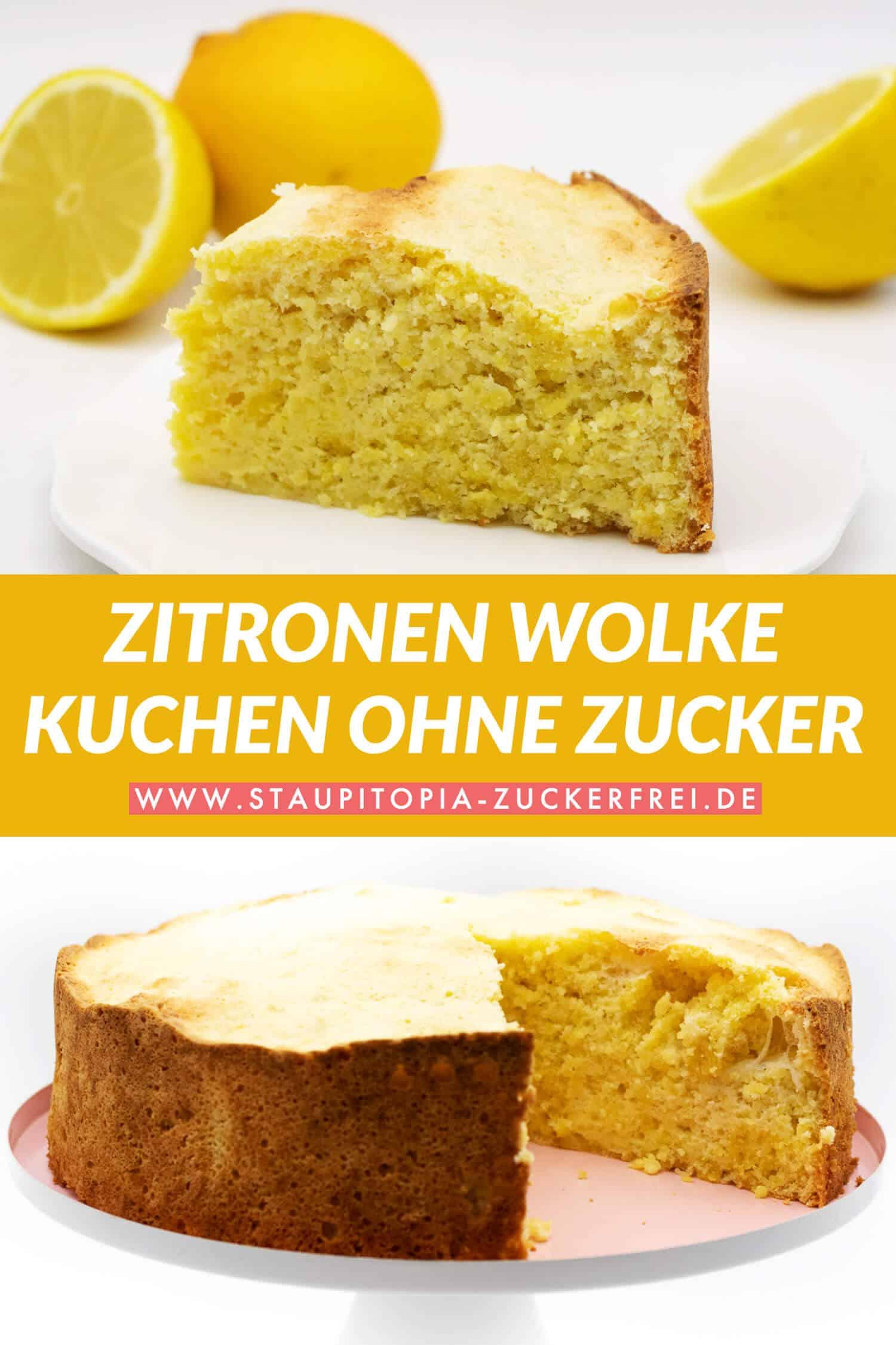 Zitronen Wolke Kuchen selber machen ohne Zucker