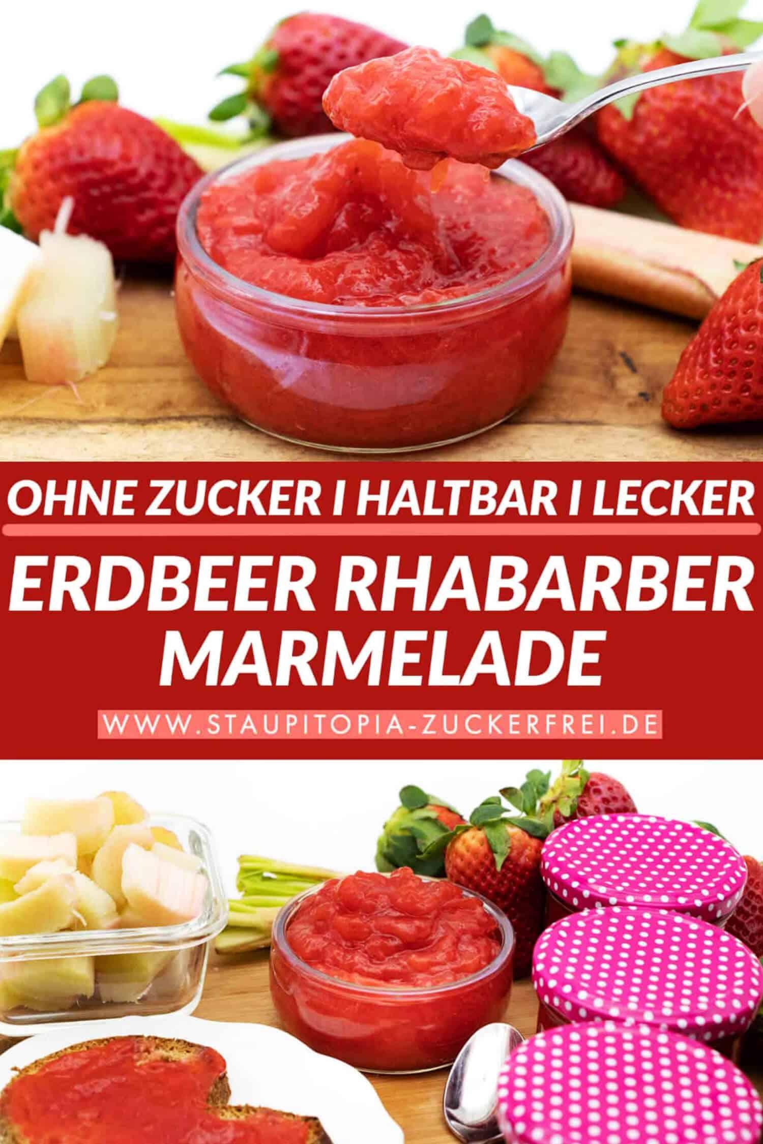 Erdbeer Rhabarber Marmelade Rezept ohne Zucker