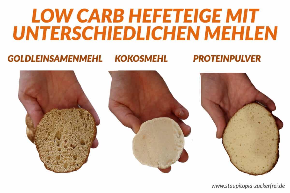 Low Carb Hefeteig mit unterschiedlichen Low Carb Mehlen