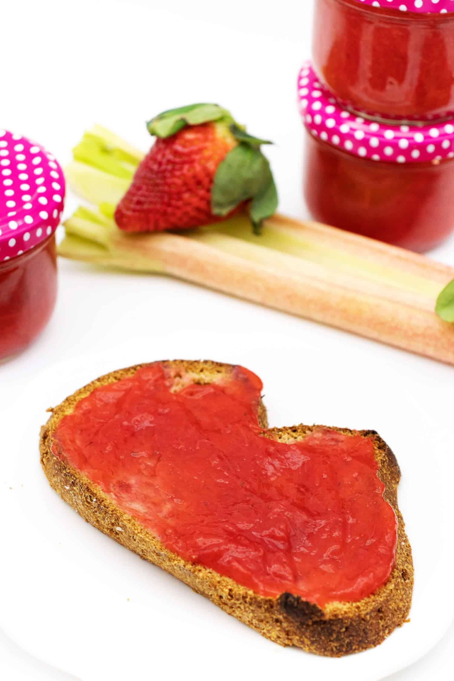 Zuckerfreie Erdbeer Rhabarber Marmelade selber machen