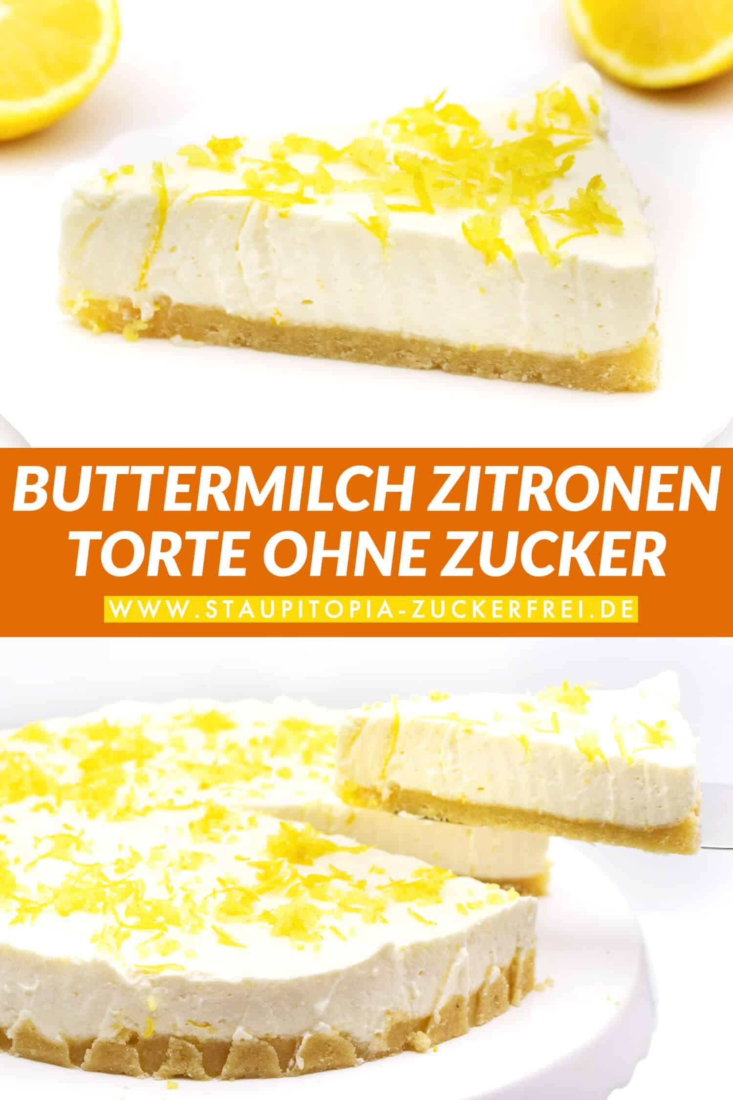Low Carb Buttermilch Zitronen Torte ohne Zucker Rezept