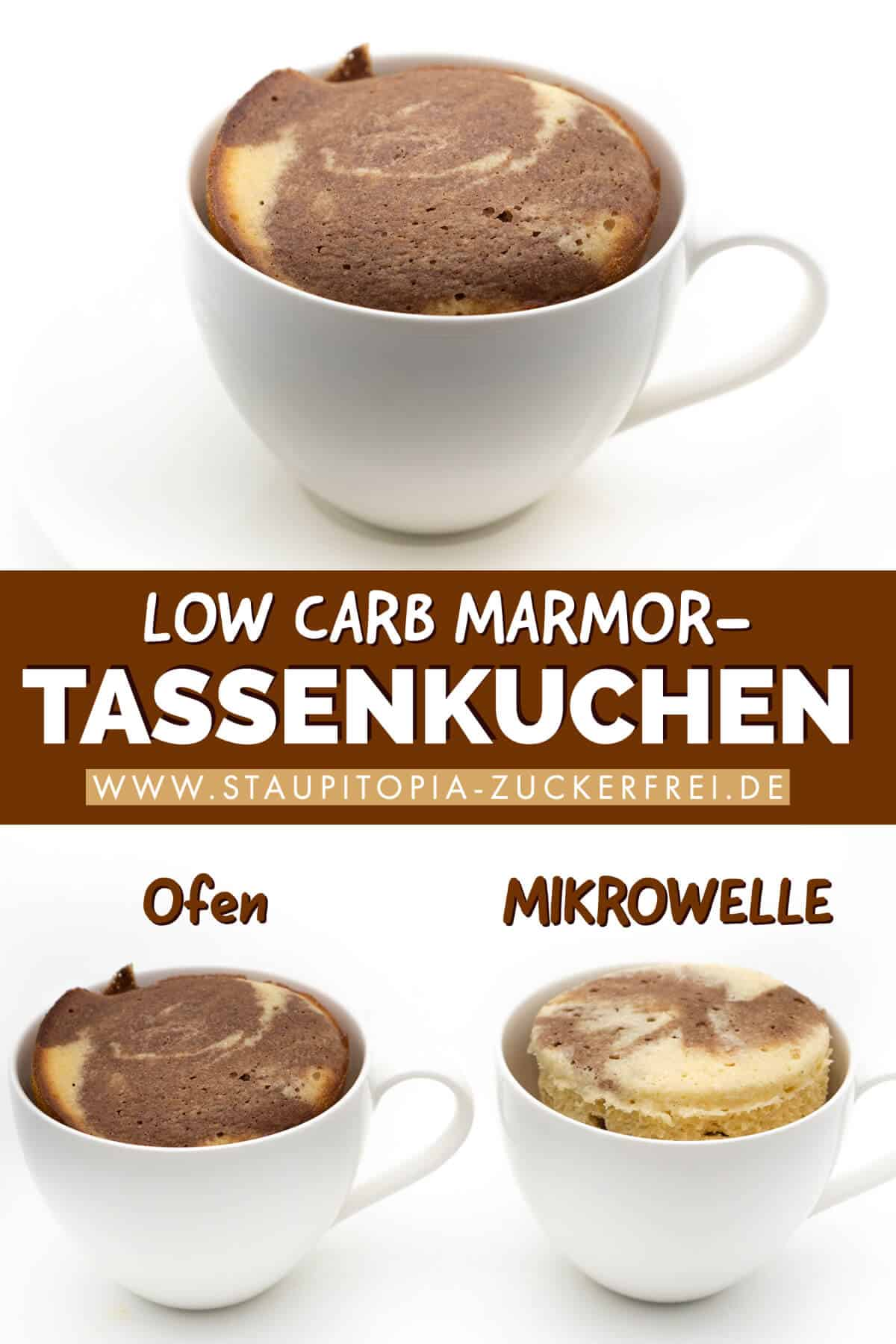 Rezept für einen Low Carb Marmor Tassenkuchen ohne Mehl